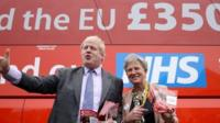 Boris Johnson and Gisela Stuart from the Leave campaign in front of the NHS pledge bus