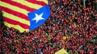 Protestors hold giant Catalonia flag overhead.