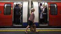 Tube commuters in London, file pic