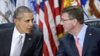 Barack Obama and US Defence Secretary Ash Carter hold a meeting on the counter-IS campaign
