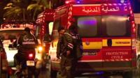 Emergency services at blast scene in Tunis