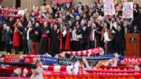 Vigil in Liverpool in memory of victims of the Hillsborough disaster