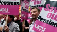 Pension strike placards