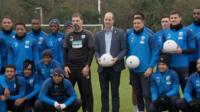 Prince William with West Bromwich Albion players
