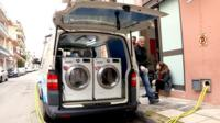 Van with washing machines