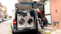 Van with washing machines