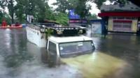 Truck underwater