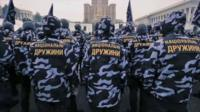 Men from the Ukranian far right group National Militia