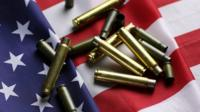 bullets on a US flag