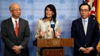 US Ambassador to the United Nations Nikki Haley speaks while Japan's UN Ambassador Koro Bessho (L) and South Korea's UN Ambassador Cho Tae-yul (R) look on during a press encounter at the United Nations in New York on 16 May 2017.
