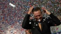 Republican U.S. presidential candidate John Kasich in confetti storm