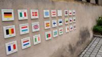EU flags on a wall