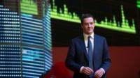 George Osborne at the Shanghai Stock Exchange in China