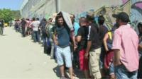 Queue of migrants on Lesbos