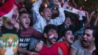 Egyptian football fans celebrate