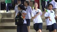 A school that several of the Thai cave boys attend is celebrating their use of English with the divers who found them.