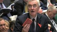 "John McDonnell quoting from Mao""s Little Red Book, after Chanceller George Osborne""s delivery of the Autumn Statement to Parliament."