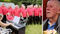 composite of choir and pensioner
