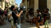 Filming in Havana