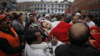 Injured woman taken to hospital in Peshawar