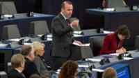 Manfred Weber speaks in the European Parliament