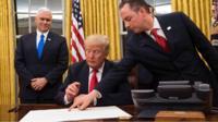Donald Trump signing declaration