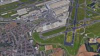Aerial shot of Brussels airport
