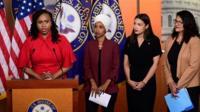 Ayanna Pressley, Ilhan Omar, Alexandria Ocasio-Cortez and Rashida Tlaib