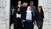 Nadine Aburas's family on the steps of Cardiff Crown Court