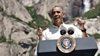 President Barack Obama speaking in Yosemite National Park, California