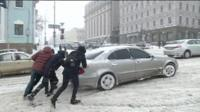 Snowbound car in Ukraine