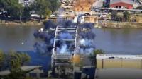 Broadway Bridge demolition in Arkansas