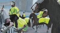 An artist has painted the moment a Newcastle United fan punched a police horse.