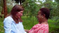 Katherine Walton and Valentine Kadzo in a Nairobi garden