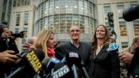 Vincent Asaro speaks to reporters after leaving court in Brooklyn