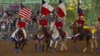 Women horse riding in Texas