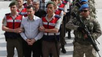 Coup suspects paraded outside courthouse in Ankara, 22 May 17