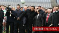 President Xi kicking a ball at Croke Park in 2012