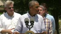 US President Barak Obama in Louisiana