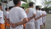 Men at the drug rehab centre in Manila