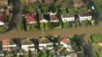 Flooded streets as filmed from the air
