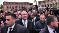 Armenia's president speaks to the leader of the protests