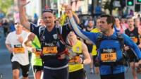 'Blind Dave' celebrates running a marathon
