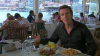 The BBC's Mark Lowen in a Greek taverna