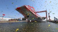 China's second aircraft carrier, first domestically built aircraft carrier, is seen during its launching ceremony in Dalian, Liaoning province, China, 26 April 2017.
