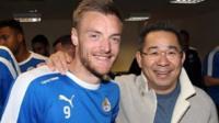 Jamie Vardy with Leicester City chairman Vichai Srivaddhanaprabha