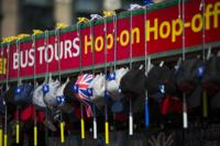 Sign advertising bus tours and items