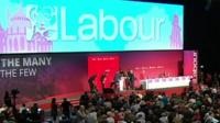 Emergency services on stage at the Labour Party conference