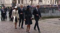 Meghan Markle arrives at Westminster Abbey with fiance Prince Harry and the Duke and Duchess of Cambridge