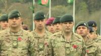 Solders at an Armistice Day service in Brecon